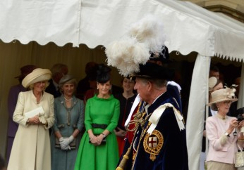 Princes Charles and William pass by Camilla and Sophie