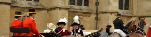 Prince William, Prince Charles and Camilla, the Duchess of Cornwall, in their carriage.