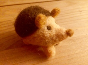 Needle felted hedgehog